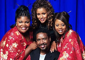 The Parkers main characters of Season 1: (l-r) Nikki Parker, Desiree Littlejohn, Kim Parker and Professor Oglevee (center)