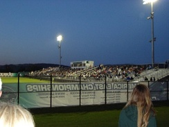 The main stands of the Bearcats Sports Complex during a soccer game
