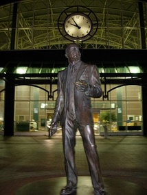 A statue of Dellums's uncle, labor organizer C. L. Dellums at the Oakland Amtrak station.