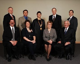 2005-2008Back (l-r): Colin Day, Andre Blanleil, Mayor Sharon Shepherd, Robert Hobson, Norm Letnick  Front (l-r): Brian Given, Michele Rule, Carol Gran, Barrie Clark