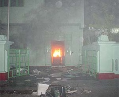 Building set on fire in Malé during the September 2003 protests