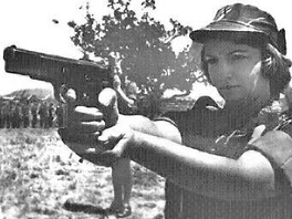Rhodesian servicewoman takes aim with her Browning Hi-Power 9×19mm semi-automatic pistol; from a 1976 army recruitment poster