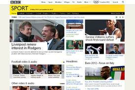 BBC Sport website as it appeared in May 2012.