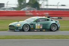 Drayson Racing Aston Martin Vantage GT2 racing in the Le Mans Series at Silverstone Circuit in 2009.