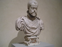 A marble bust of Philip II of Spain by Pompeo Leoni, son of Leone Leoni, Metropolitan Museum of Art