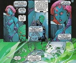 Brainiac with his descendant Brainiac 8, as they discuss his use of organics; art by Matthew Clark
