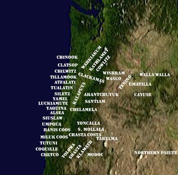 Approximate geographic locations of the First Nations of today's Oregon and southern Washington state