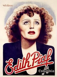 Columbia Records poster of Piaf in her trademark black dress