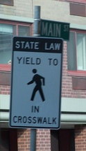 In many jurisdictions in the United States, one must yield to a pedestrian in a crosswalk.
