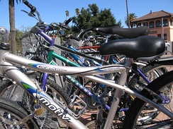 Bikes in front of the Davis Amtrak station