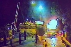 CCTV footage of a six-wheeled dumper truck as it enters the gates of the Marriott hotel.