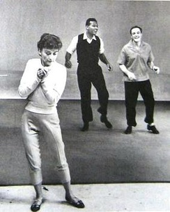 Kelly in rehearsal with Sugar Ray Robinson and assistant Jeanne Coyne (his future wife) in the NBC Omnibus television special Dancing is a Man's Game (1958)