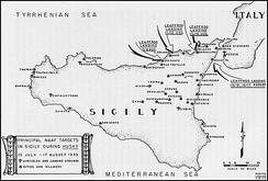 Principal Sicilian targets of the Northwest African Air Forces for Operation Husky.