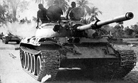 Allied Indian T-55 tanks on their way to Dacca