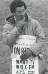 AFTRA member Andy Barth of WMAR-TV, Channel 2 on picket line, March 1982.
