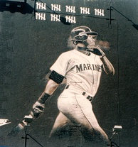 A mural of Ken Griffey Jr. in downtown Seattle from the strike-shortened 1994 season. The tick-marks represent his home runs up to the time of the strike, when Griffey Jr. was chasing the single-season home run record set by Roger Maris in 1961.