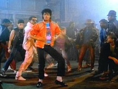 "Jackson in the music video for ""Beat It""."