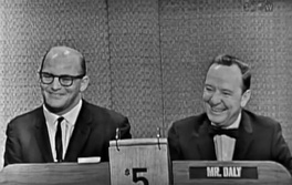 MVP Ray Nitschke's appearance on CBS Television's What's My Line on the evening of December 30, 1962 after the 1962 NFL Championship Game.John Charles Daly, the legendary host of What's My Line, is smiling on his left.