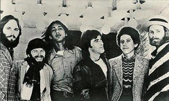 The Beach Boys without Brian in 1972. From left: Carl, Jardine, Ricky Fataar, Dennis, Blondie Chaplin and Love.