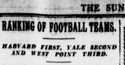 The Sun was among the first to publish a year-end college football ranking, in 1901.