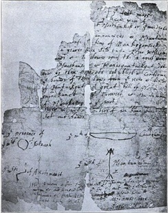 The original 1636 Indian deed creating the Colony of Rhode Island signed by Native American Chief Canonicus to Roger Williams
