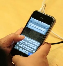The virtual keyboard on the first generation iPhone touchscreen