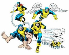 The original X-Men members that were created by Stan Lee and Jack Kirby, showing their original design