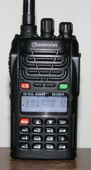 Wouxun KG-UVD1P dual watch handheld for 2M and 220 MHz.