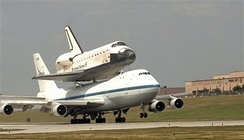 Space Shuttle Atlantis being shuttled through Offutt following a mission on 1 July 2007.