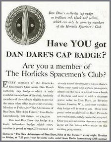 March 1952 advertising for the Dan Dare Monday to Friday serial as it appeared in 208, the programme listing guide to Radio Luxembourg in English.