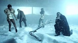 "Richard, Beatz, Harper and Diddy (from left to right) in the middle scene of the video, ""A snow-filled backdrop bathed in blue light""."