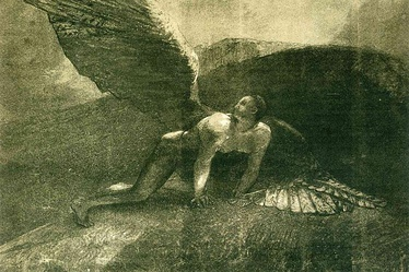 Fallen 'Son of God': The Qumranic Book of Giants tells the story of pre-diluvian origins of evil and the fate of the Watchers and their giant offspring. Fallen Angel by Odilon Redon, 1872.