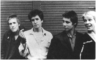 The original line-up of the Sex Pistols, early 1976. Left to right: Rotten, Jones, Matlock and Cook.