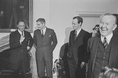 Pearson, and three of his cabinet ministers who later became Prime Ministers. From left to right, Pierre Trudeau, John Turner, Jean Chrétien, and Pearson.