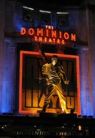 Statue of Mercury at the West End's Dominion Theatre where Queen and Ben Elton's musical We Will Rock You was performed from 2002 to 2014