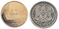 The Norwegian 20 kroner coin compared to the Syrian 10 pound coin.