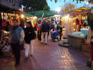 Olvera Street Market; the zigzag brick pattern represents the original path of the Zanja Madre