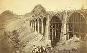 Photograph (1855) showing the construction of the Bhor Ghaut incline bridge, Bombay; the incline was conceived by George Clark, the Chief Engineer in the East India Company's Government of Bombay.