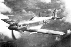 The first Griffon-powered Spitfire, DP845, flown by Jeffrey Quill, 1942 (Mk XII)