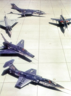 "The ""Century Series"" of tactical fighters. Clockwise from the bottom: F-104 Starfighter, F-100 Super Sabre, F-102 Delta Dagger, F-101 Voodoo, and F-105 Thunderchief. All except the F-102 served in TAC."