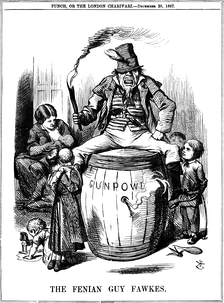 "The Irish Republican Brotherhood was one of the earliest organizations to use modern terrorist tactics. Pictured, ""The Fenian Guy Fawkes"" by John Tenniel (1867)."