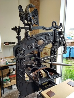 Columbian press in excellent original condition and still in regular use at Leicester Print Workshop