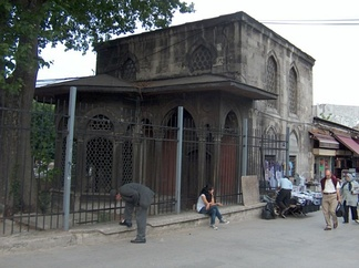 The blackened entrance to Kuyucu Murad Pasha's mausoleum. Clean-up has been halted due to the criticism of many Anatolian groups of the government-sponsored upkeep of the building due to Murad Pasha's sectarian execution of thousands of Turks in the early 1600s.