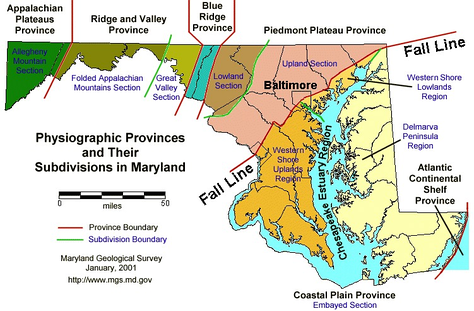 Physical regions of Maryland