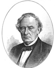 Back and white drawing of a white man wearing a dark jacket and bow tie