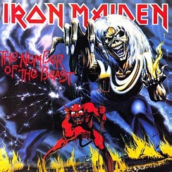 "The Number of the Beast cover art shows in vivid colours Iron Maiden's ghoulish mascot Eddie manipulating the Devil as a puppet while condemned souls burn in Hell. According to US professor Bryan A. Bardine the message is clear: ""this album evokes power, passion and music that present darker themes and images.""[242]"