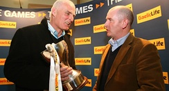 Antrim manager Liam Bradley (left) with Armagh manager Peter McDonnell (right) at the launch of the 2009 competition