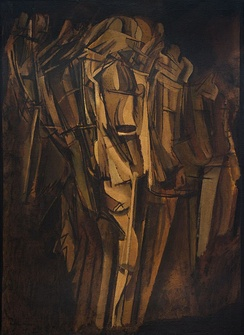 Marcel Duchamp, Nude (Study), Sad Young Man on a Train (Nu [esquisse], jeune homme triste dans un train), 1911–12, oil on cardboard mounted on Masonite, 100 x 73 cm (39 3/8 × 28 3/4 in), Peggy Guggenheim Collection, Venice. This painting was identified as a self-portrait by the artist. Duchamp's primary concern in this painting is the depiction of two movements; that of the train in which there is a young man smoking, and that of the lurching figure itself.[12]