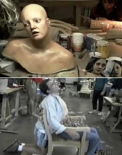 Barrymore's replica model and the chair used to display Steve Orth's death. Note the actor kneeling behind it.