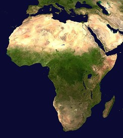 A geographical map of Africa, showing the ecological break that defines the Saharan area